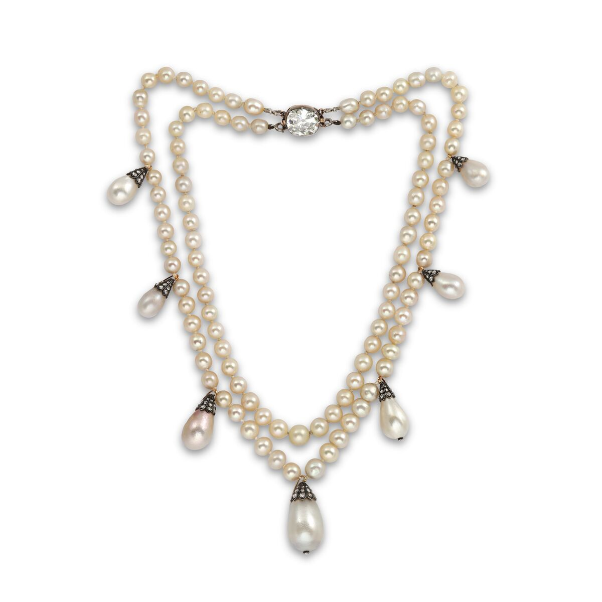 Queen Josefina of Sweden's natural pearl and diamond necklace. Courtesy of Symbolic & Chase, London.