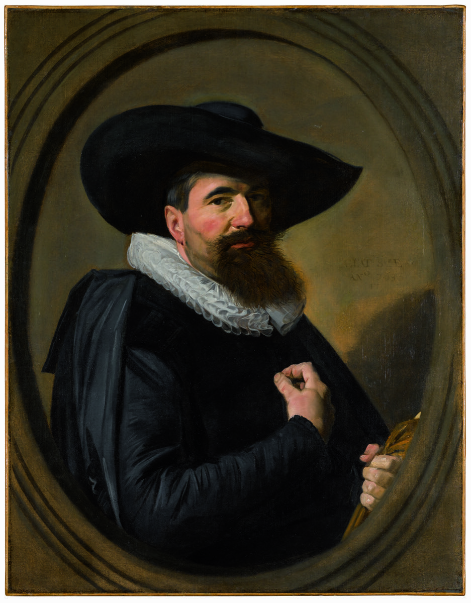 Frans Hals, Portrait of a Man, Half-Length in Black, with a Broad-Brimmed Black Hat and a White Ruff, Holding his Gloves, within a painted oval, n.d. Courtesy of Sotheby's.