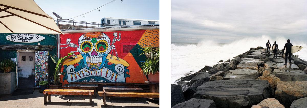 Left: Rockaway Beach Surf Club. Photo by Michael Rudin. Right: Susannah Ray, On the Jetty (2005).