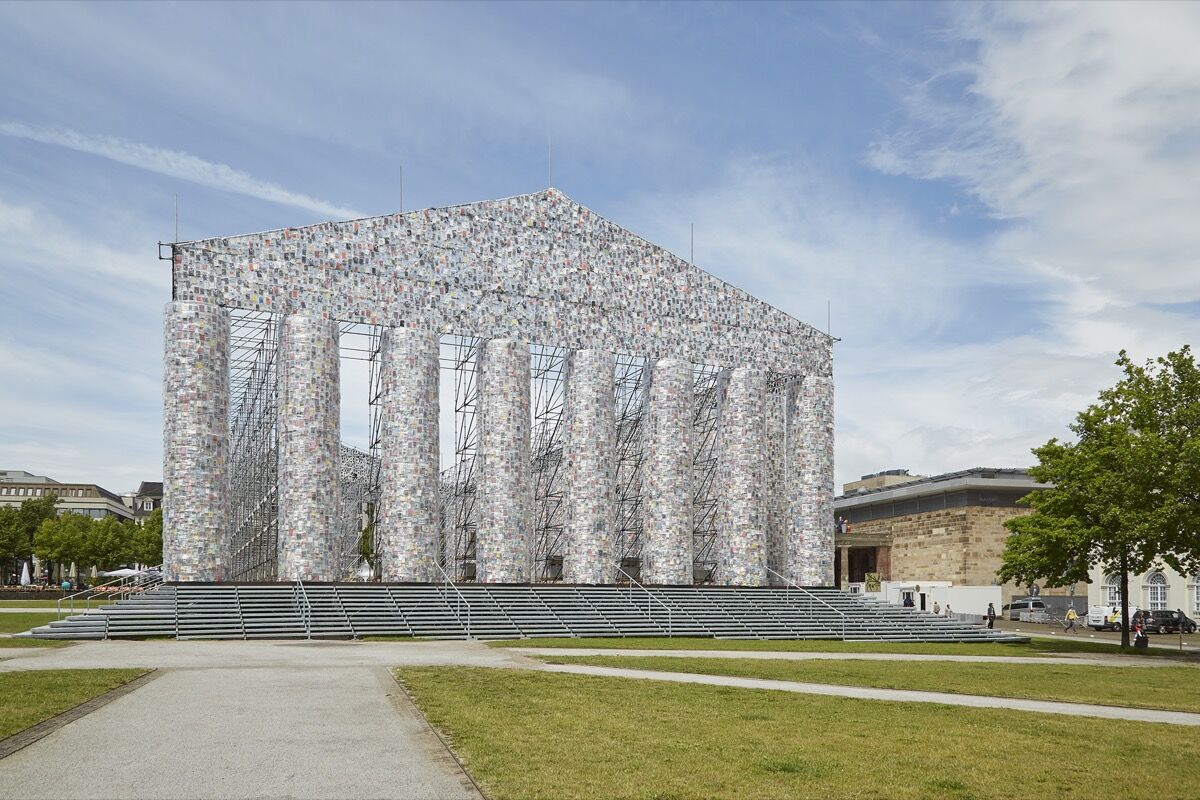 Marta Minujín, The Parthenon of Books, 2017, on view at documenta 14, 2017. Photo by Benjamin Westoby for Artsy.
