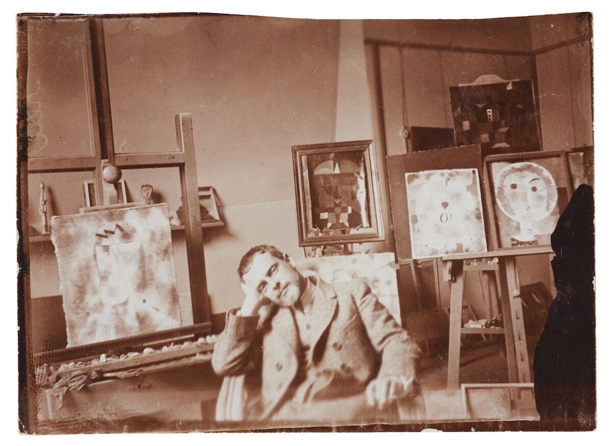 Paul Klee in his atelier, Bauhaus Weimar, 1923. Photo by Felix Klee. Zentrum Paul Klee, Bern, Gift of the Klee Family. © Klee-Nachlassverwaltung, Hinterkappelen. Courtesy Zentrum Paul Klee, Bern, Image archive.