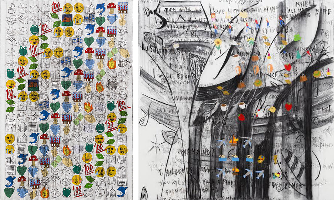 Despina Stokou, (left to right) Recently Used 8989, Emoji poem, 2015, Courtesy Galerie EIGEN + ART, Lepzig/Berlin, and the artist,photography by Maxwell Schwartz.