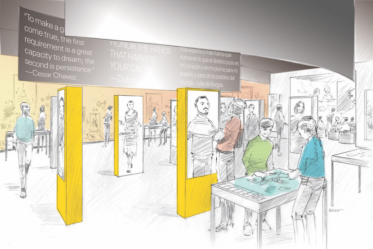 Rendering of the Smithsonian Latino Center's Molina Family Latino Gallery. Image by Museum Environments/Branded Environments.