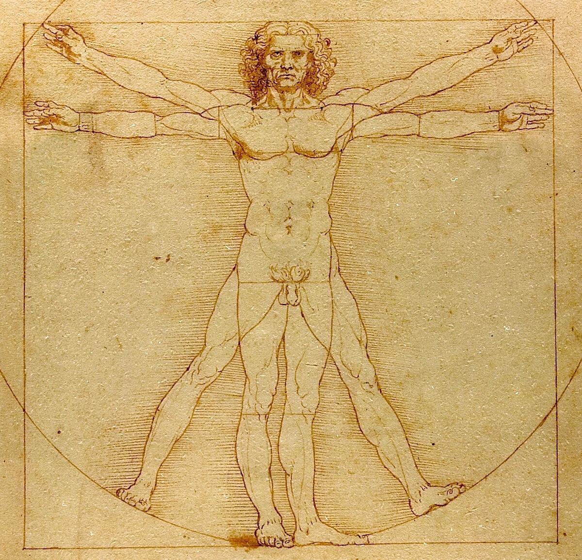 Leonardo da Vinci, Vitruvian Man, ca. 1490. Gallerie dell'Accademia, Venice. Image by Beat Ruest, via Wikimedia Commons.
