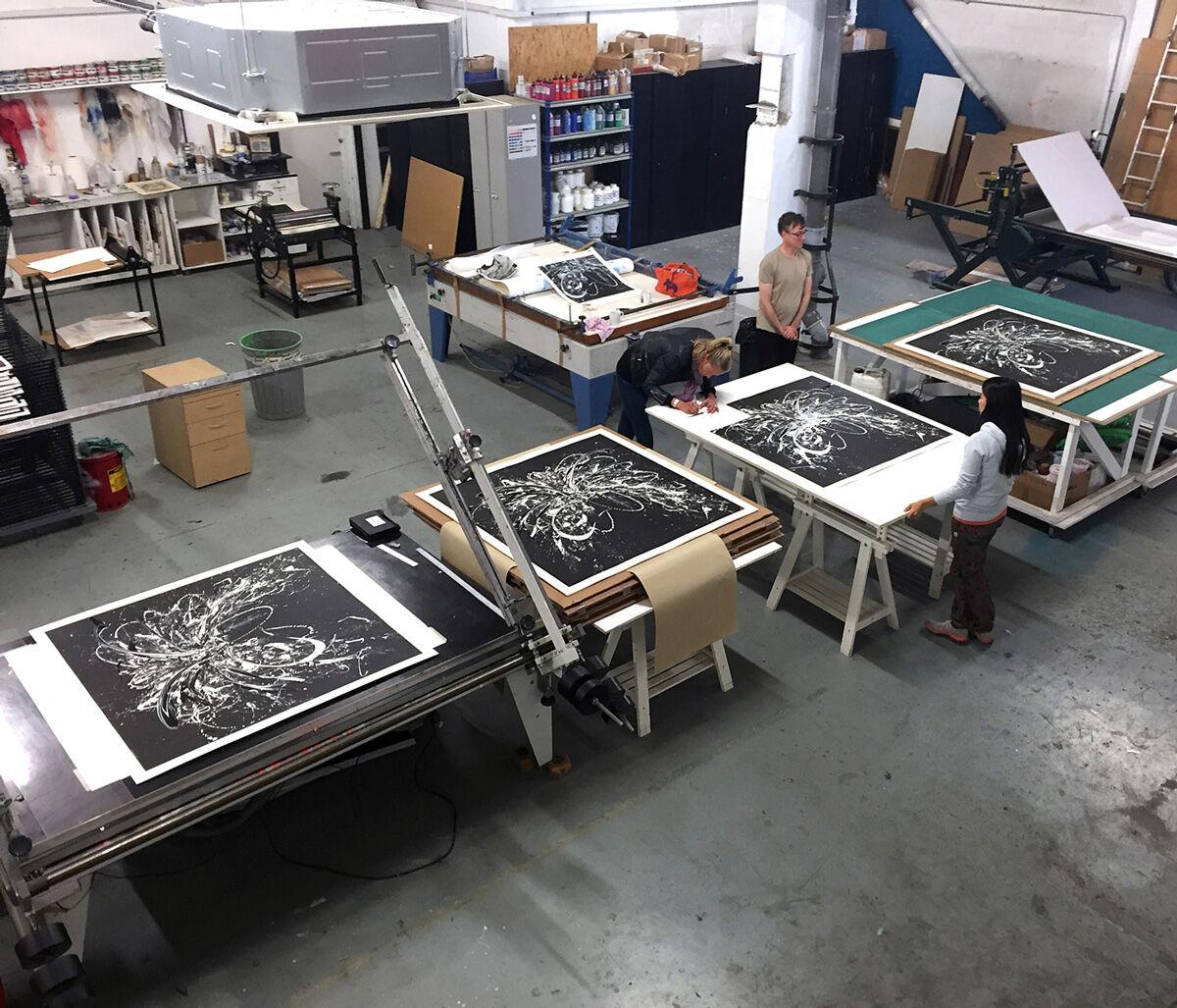 Katrin Fridrikssigningprints at Lazarides Editions.Courtesy Lazarides