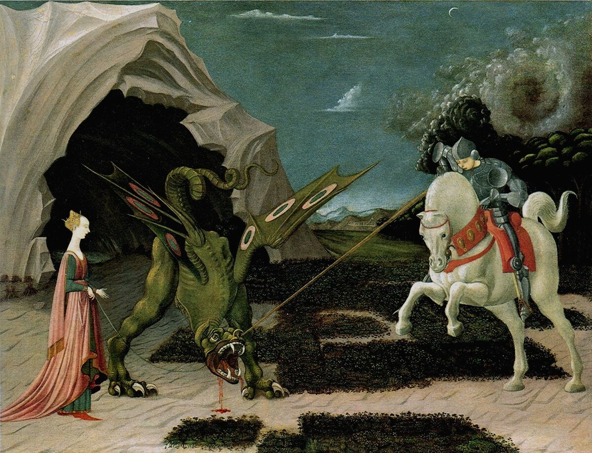 Paolo Uccello, Saint George and the Dragon, ca. 1470. Photo via Wikimedia Commons.