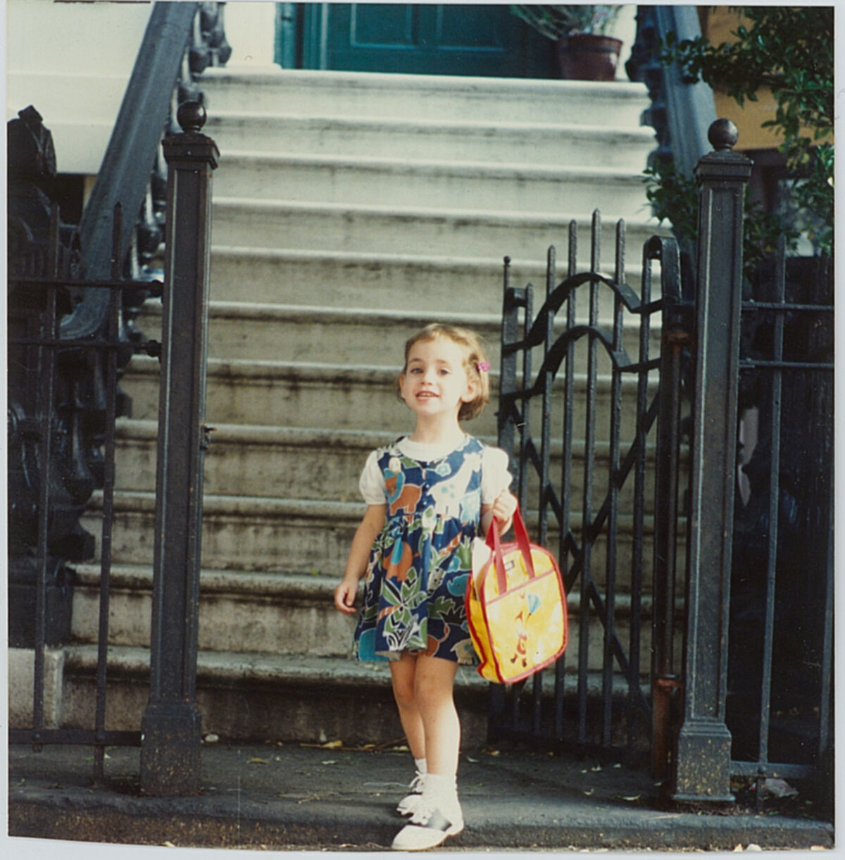 Casey Lesser on her first day of pre-school,  1993.