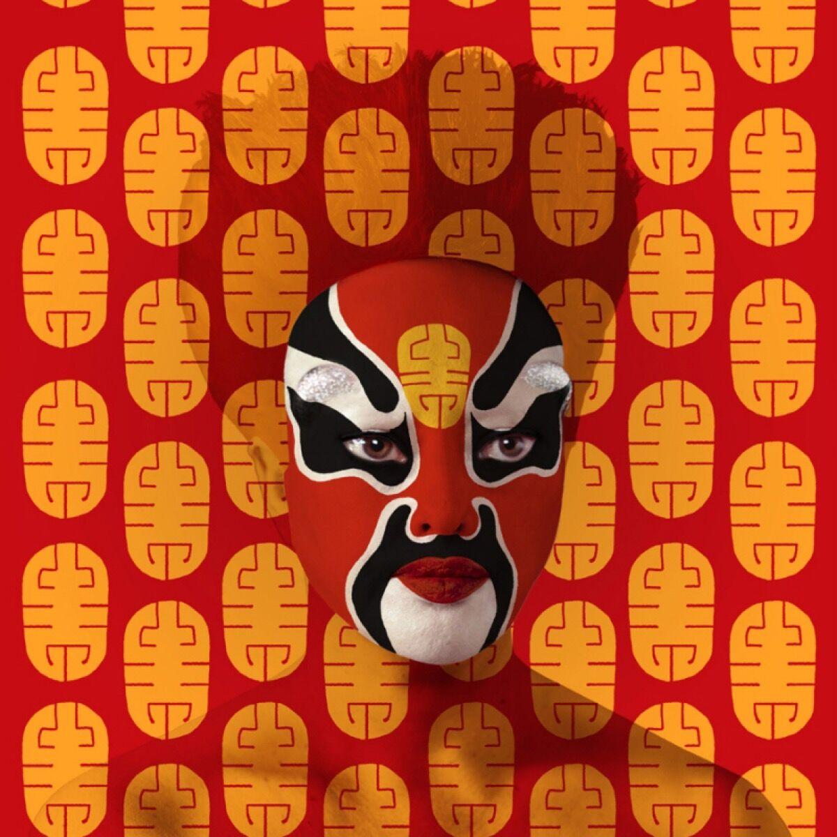 ORLAN, Peking Opera Facial Designs No. 1. Courtesy of La Plaque Tournante.