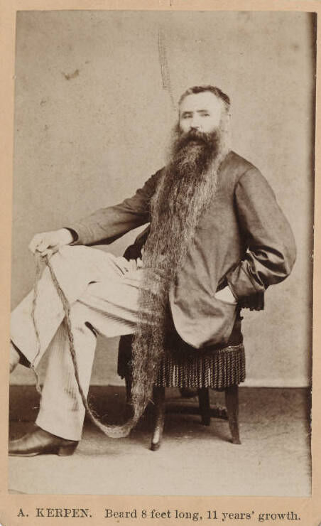 A. Kerpin, Beard 8 feet long, 11 years' growth. Image by the Beinecke Library, via Flickr.