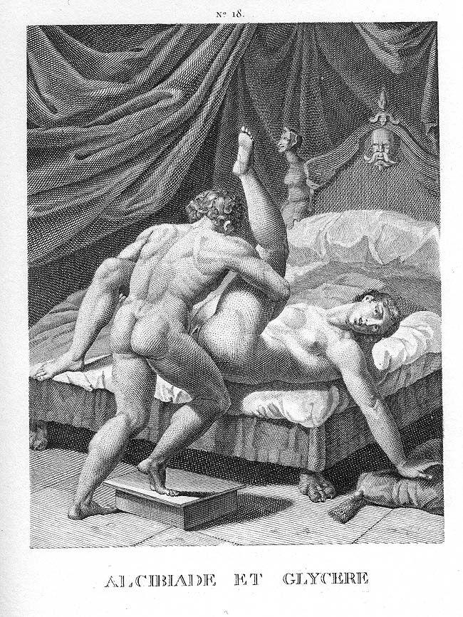 "Agostino Caracci, Alcibiades and Glycera, from ""I modi,"" 16th century. Image via Wikimedia Commons."