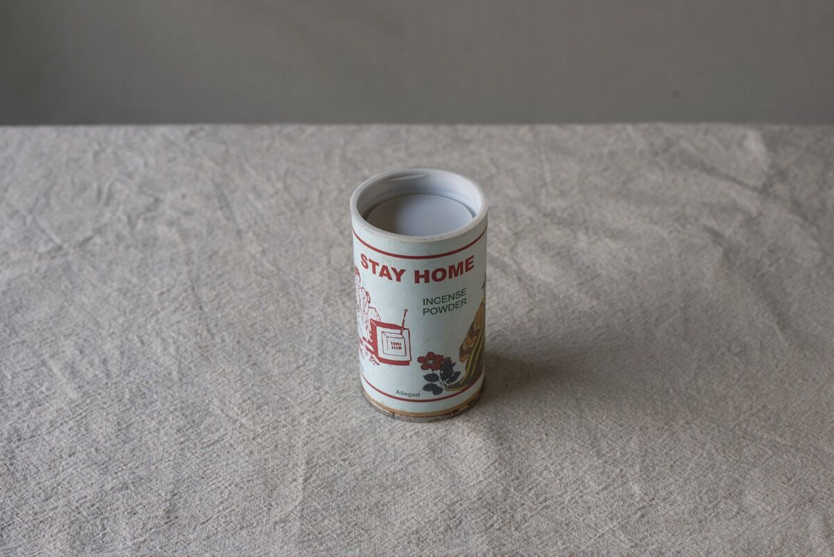 Shreyas Karle, Stay home (incense powder): Found Object I, 2019. Courtesy of the artist and Grey Noise, Dubai.