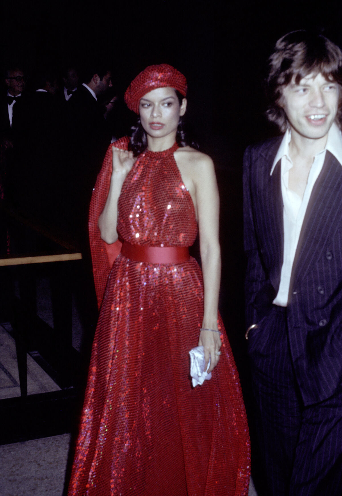 Bianca Jagger and Mick Jagger at the at the Costume Institute Benefit Gala at the Metropolitan Museum of Art, New York, 1974. Photo by Ron Galella/WireImage.