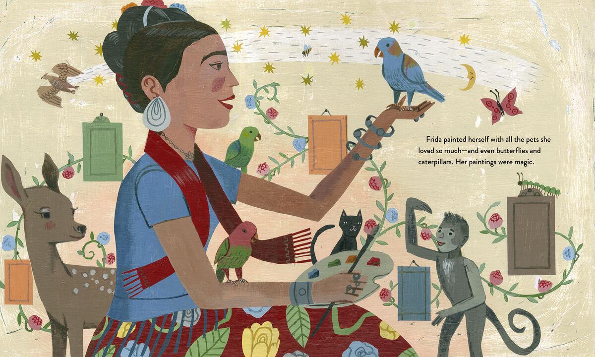 Illustration pour Frida Kahlo et son Animalitos par John Parra. Courtoisie de NorthSouth Books.