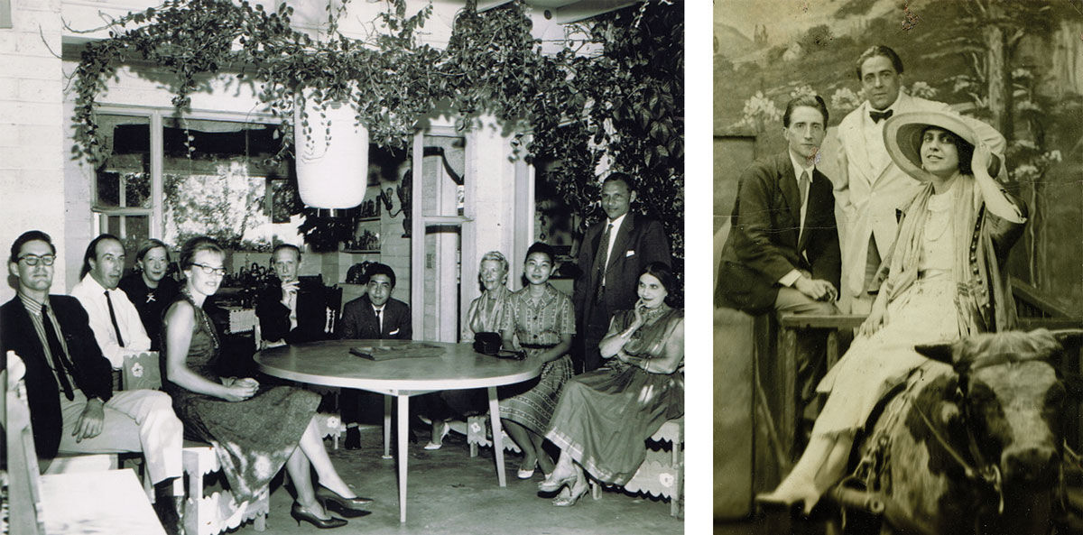 Left: Photo courtesy of Beatrice Wood Center for the Arts/Happy Valley Foundation. Right: Marcel Duchamp, Francis Picabia and Beatrice Wood, 1917. Private Collection, New York. Photo courtesy of Francis M. Naumann Fine Art.