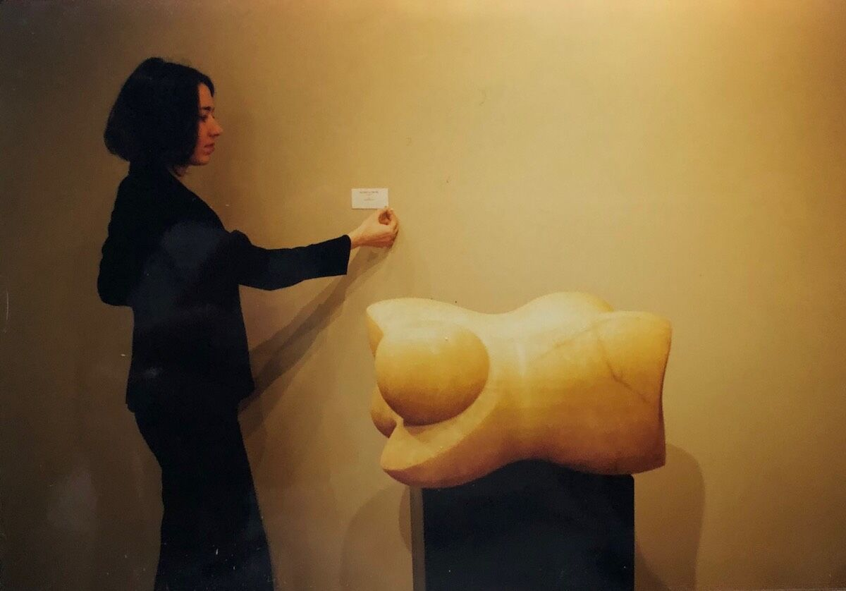 Valerie Carberry, circa 2001, selling a Noguchi sculpture that provided the seed money for Carberry to start her gallery. Courtesy of Valerie Carberry.