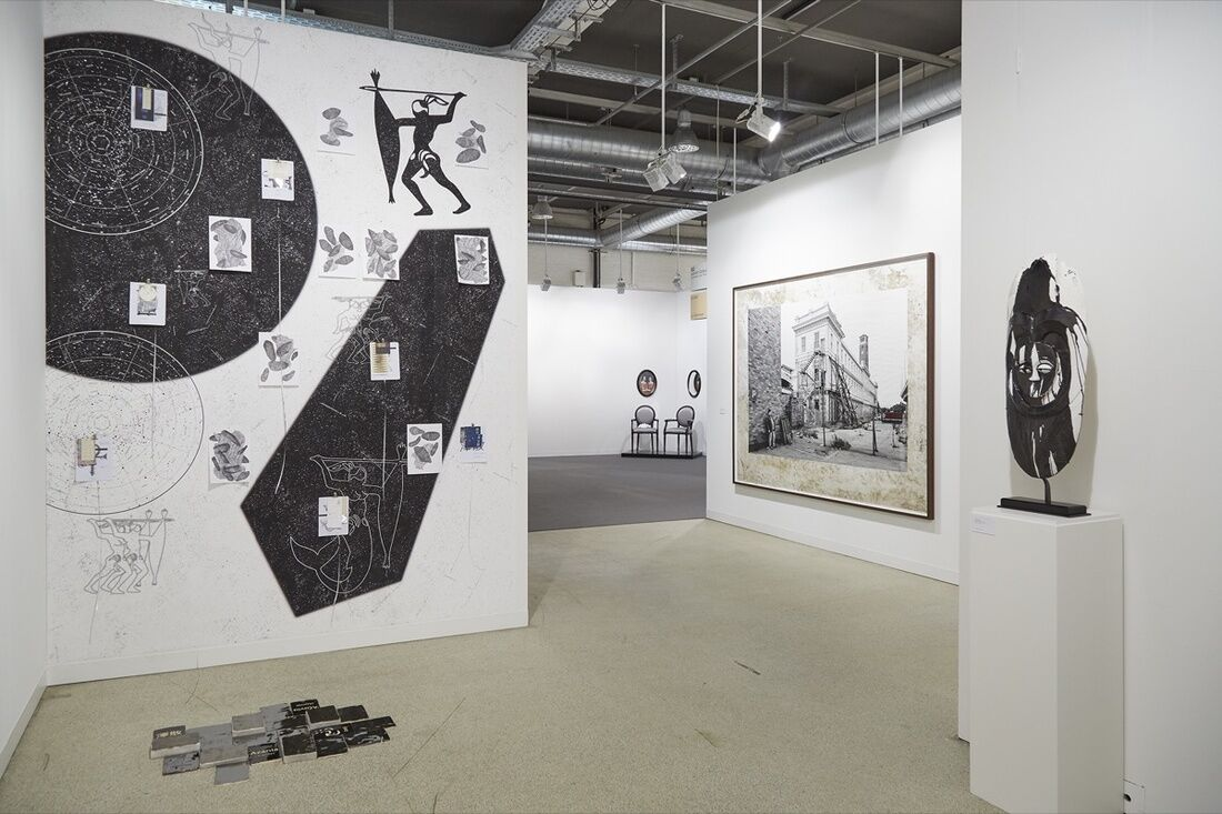 Installation view of Goodman Gallery's booth at Art Basel, 2017. Photo by Benjamin Westoby for Artsy.
