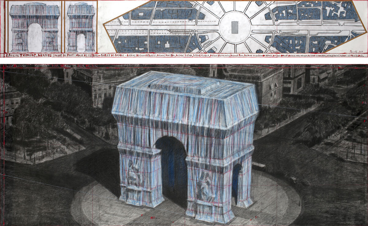 Christo, L'Arc de Triomphe, Wrapped (Project for Paris) Place de l'Etoile – Charles de Gaulle, 2019. Photo by André Grossmann, © 2019 Christo.
