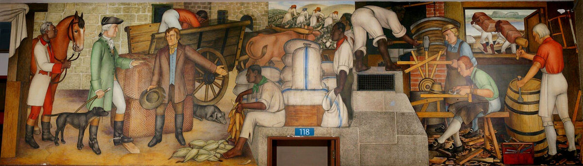 "A panel titled ""Mount Vernon"" from The Life of Washington by Victor Arnautoff. Photo by Dick Evans-San Francisco. Courtesy the Coalition to Protect Public Art."