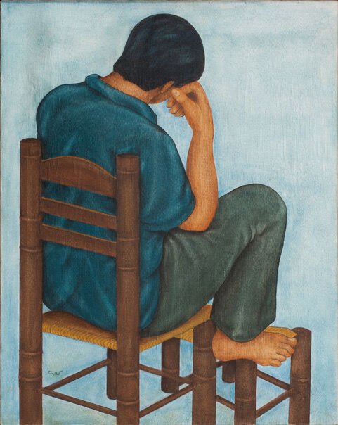 Louay Kayyali, Boy Sitting on a Chair, 1976. Photo by Jaber Al Azmeh. Courtesy of the artist and the Atassi Foundation.