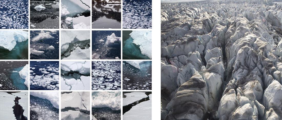 "Diane Burko,""Antartica Grid""(2013) and""Kronebreen: Above 2""(2013), courtesy LewAllen Galleries."