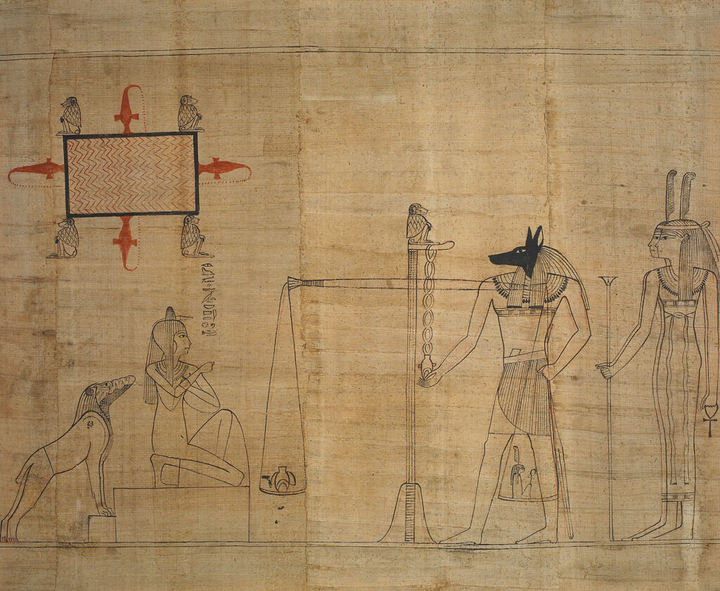 Egyptian, Book of the Dead: the final judgement scene, ca. 940 BC. © The Trustees of the British Museum (2017). All rights reserved.