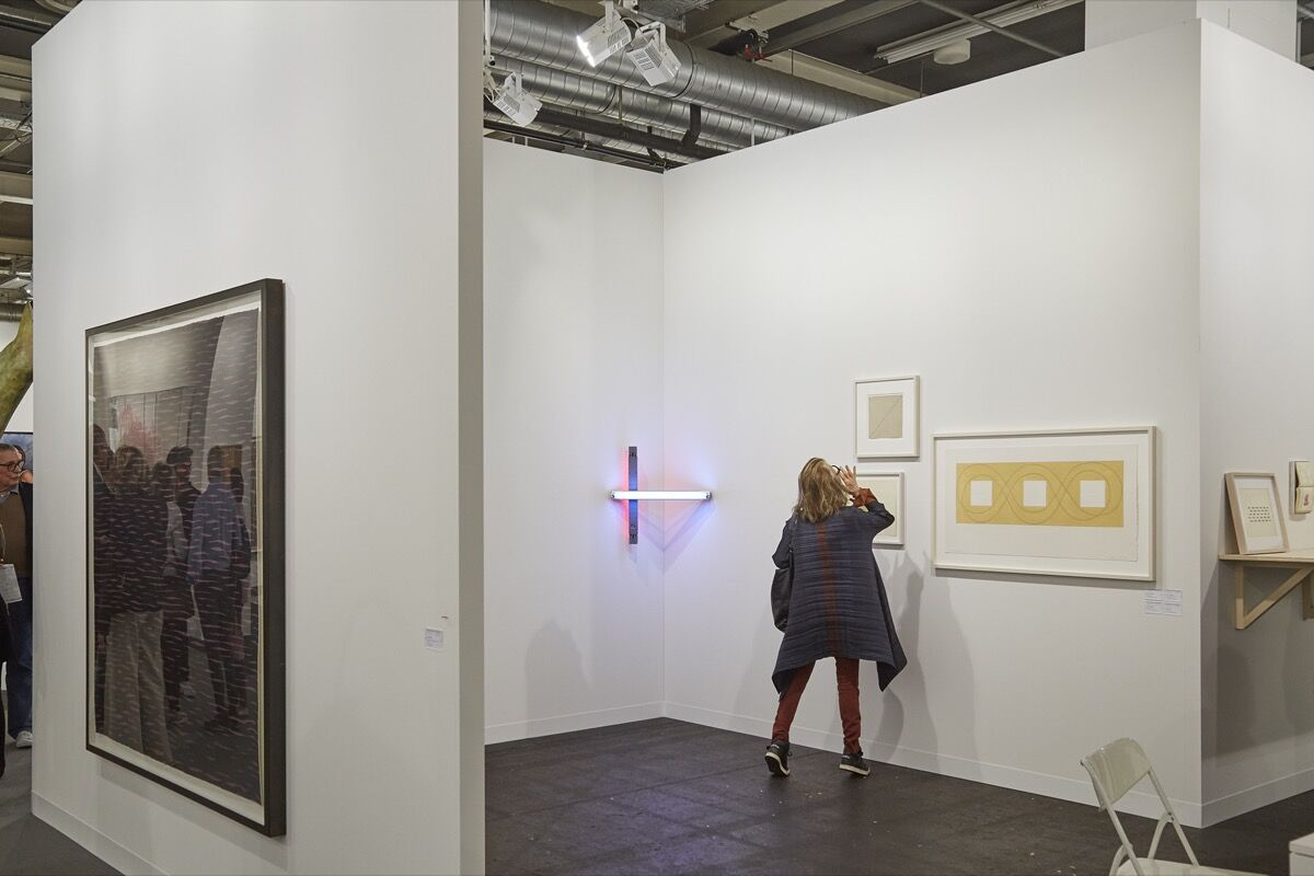 Installation view of AnneMarie Verna's booth at Art Basel, 2016. Photo by Benjamin Westoby for Artsy.