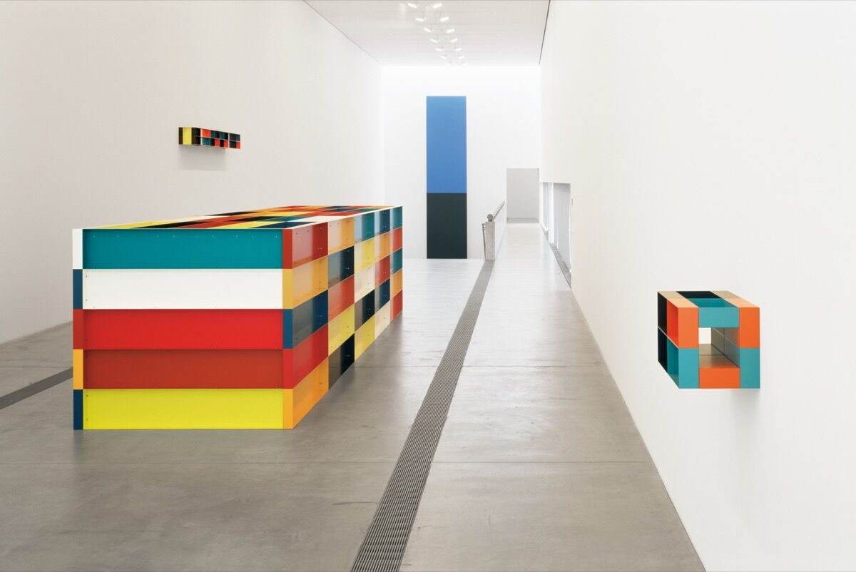 Installation view of Donald Judd: The Multicolored Works, 2013, at the Pulitzer Arts Foundation, St. Louis. Donald Judd Art © Judd Foundation / Artists Rights Society (ARS), New York Photograph by Florian Holzherr.