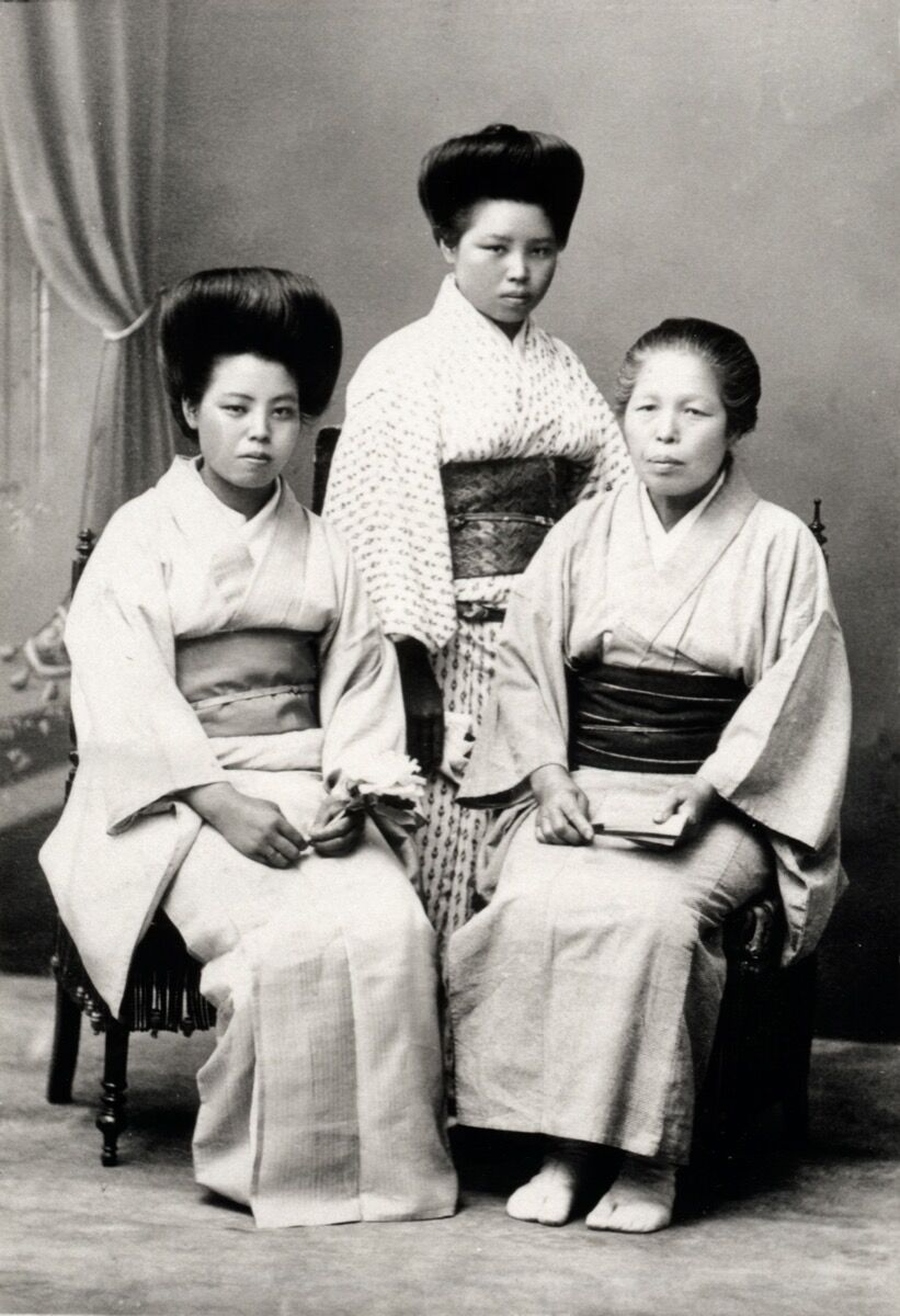Portrait of Ruth Asawa's mother, Haru Asawa (center), with her sister Ura (left) and her mother (right) in Japan. Courtesy of Estate of Ruth Asawa.