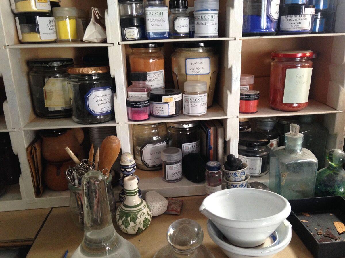 Pigments in Jane Jelley's studio. Courtesy of Jane Jelley.