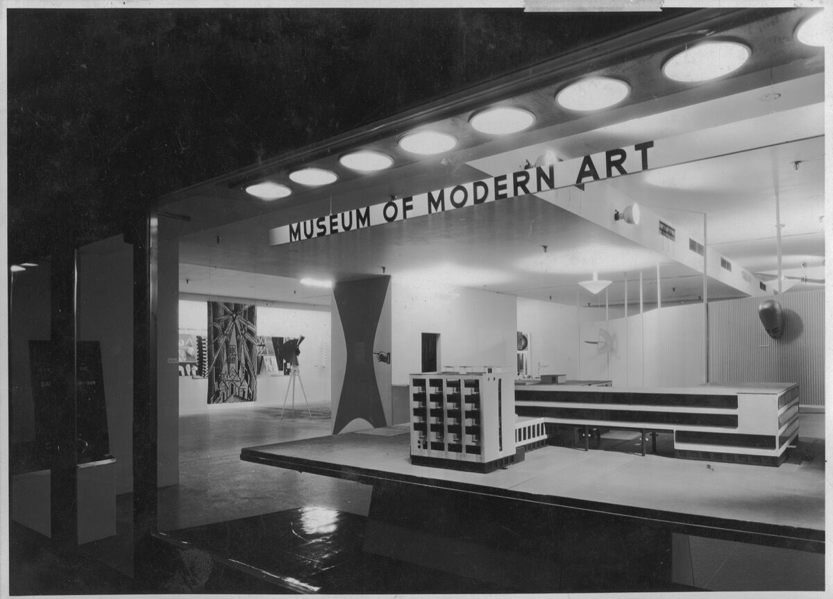 """Installation view of the exhibition """"Bauhaus: 1919–1928,"""" on view December 7,1938 through January 30, 1939 at The Museum of Modern Art, New York. Courtesy of The Museum of Modern Art Archives, New York. Photo by Soichi Sunami."""
