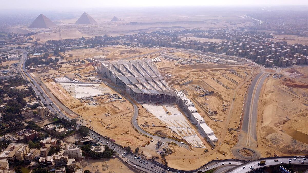 Aerial view of the Grand Egyptian Museum (GEM). Courtesy the Ministry of Antiquities of Egypt.
