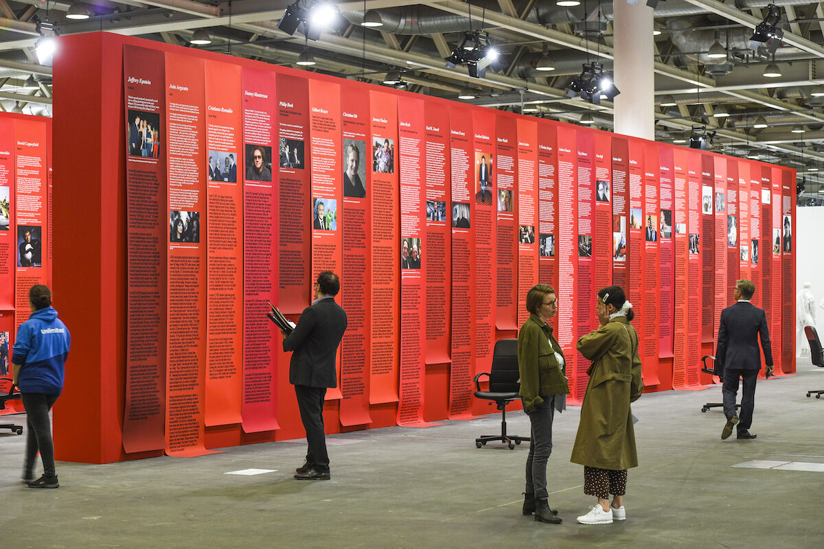 """Installation view of """"Open Secret"""" (2018) by Andrea Bowers at Art Basel in Basel. Photo © Art Basel."""