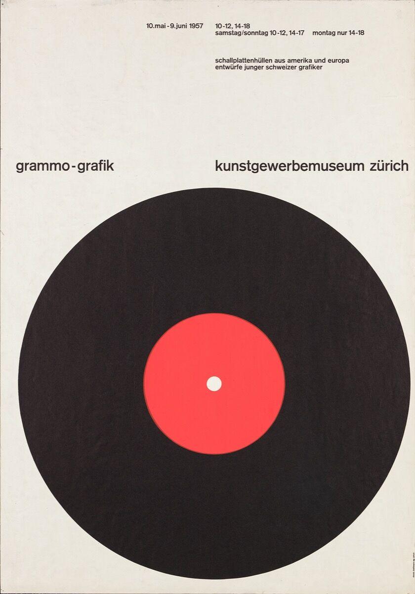 Gottlieb Soland, Grammo-grafik, Kunstgewerbemuseum Zürich Poster, 1957. © Museum für Gestaltung Zürich. Courtesy of the Museum für Gestaltung Zürich.