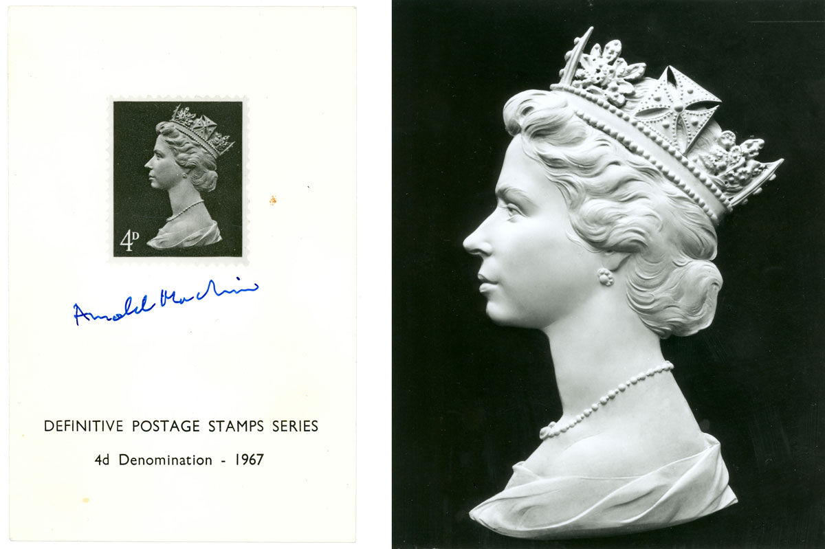 The first issued stamp with Machin's portrait, signed by the artist. © Royal Mail, courtesy of The Postal Museum.