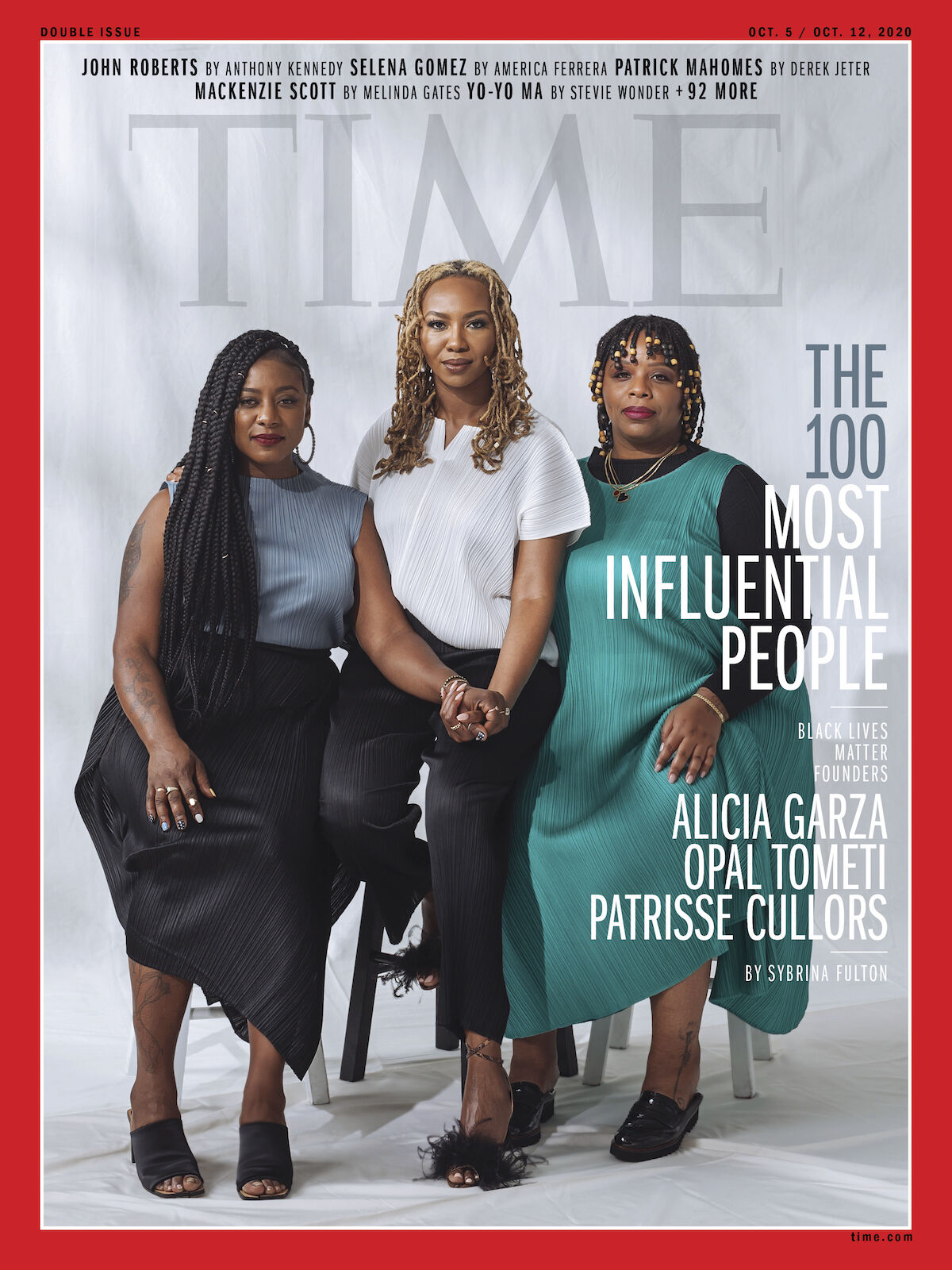 Black Lives Matter co-founders Patrisse Cullors, Alicia Garza, and Opal Tometi on the cover of Time magazine. Photo by Kayla Reefer for Time.