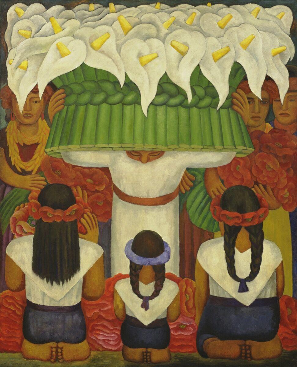 Diego Rivera, Festival de las Flores: Fiesta de Santa Anita, 1931. © 2020 Banco de México Diego Rivera Frida Kahlo Museums Trust, México, DF / Artists Rights Society (ARS), Nueva York.  Imagen © The Museum of Modern Art / Con licencia de SCALA / Art Resource, Nueva York.  Cortesía del Museo Whitney de Arte Americano.