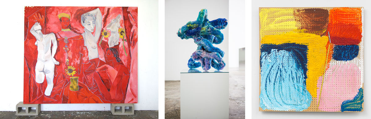 Left:Alex Chaves, Keke, 2016. Courtesy of Martos Gallery, New York; Center:Raúl de Nieves, As Far As You Take Me That's Where I Believe, 2015. Courtesy of Company Gallery, New York; Right:Eric Mack, Bed, Bath, Beyond It, 2016. Courtesy of Moran Bondaroff Gallery, Los Angeles.