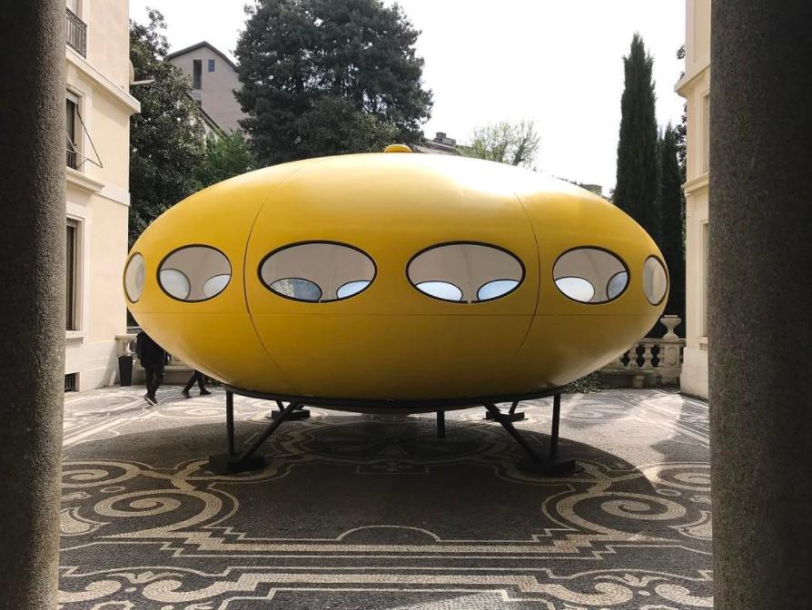 Matti Suuronen, Futuro House, 1968. Installed at Louis Vuitton's Objets Nomadesinstallation at Palazzo Bocconi. Photo by @davidandnicolas, via Instagram.