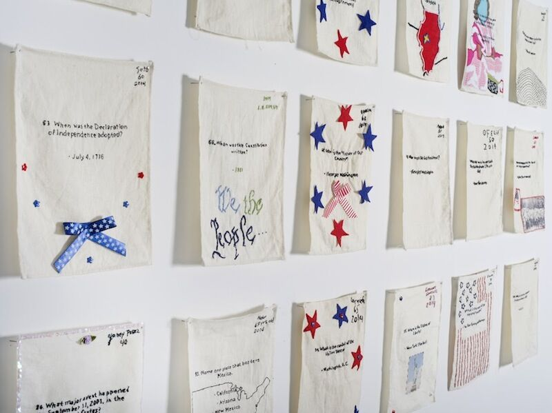 Installation view of Aram Han Sifuentes, US Citizenship Test Sampler, 2012-Present. Courtesy of Smack Mellon.