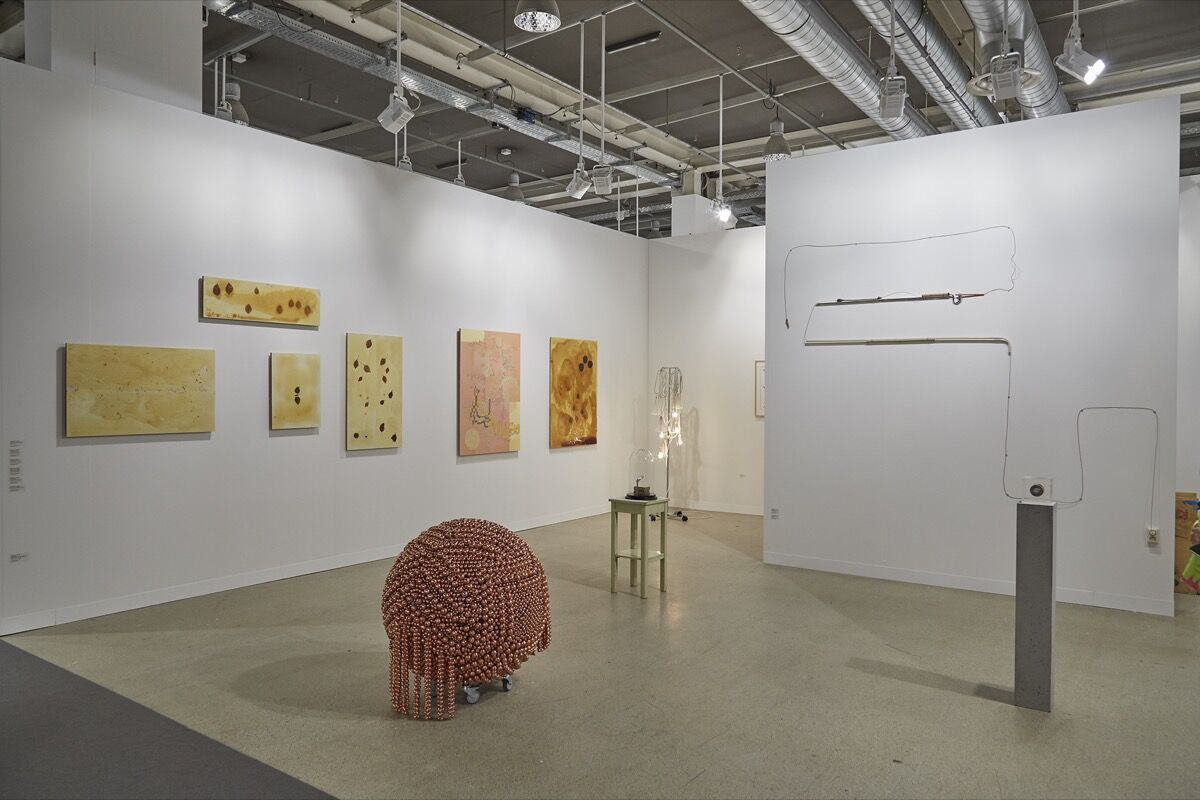 Installation view of Barbara Wien's booth at Art Basel, 2016. Photo by Benjamin Westoby for Artsy.