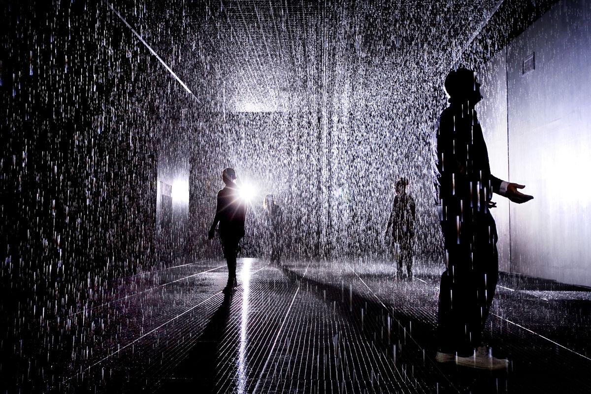 Installation view of Random International, Rain Room, 2012. © Felix Clay. Courtesy of  Barbican Art Gallery.