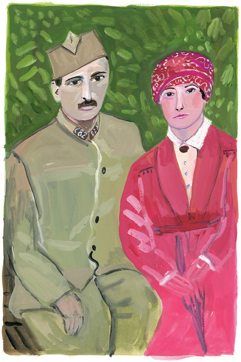 """Maira Kalman,  Andre Derain and Alice Princet,  from  """" The Autobiography of Alice B Toklas,"""" 2019. Courtesy of Julie Saul Projects, New York."""