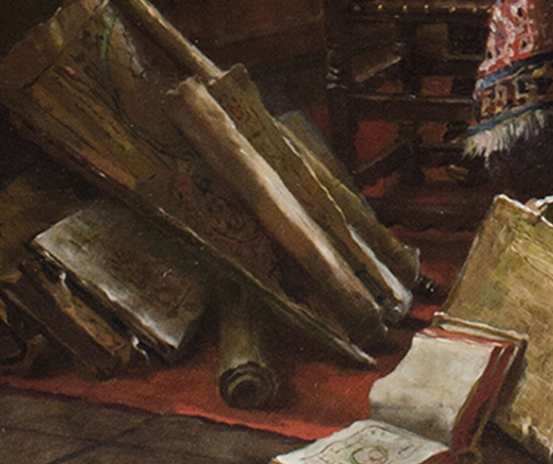 Close-up image of a still-life within the painting.
