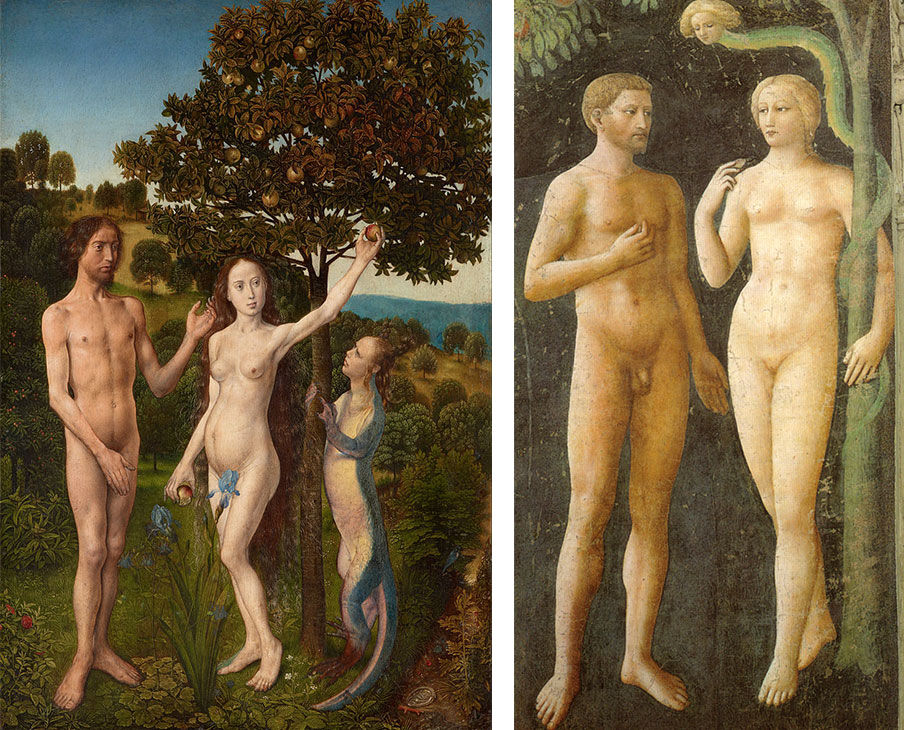 Left: Hugo van der Goes, The Fall of Man and The Lamentation, 1470–75. Courtesy of the Kunsthistorisches Museum. Right: Masolino da Panicale, Temptation of Adam and Eve, ca. 1425. Courtesy of Cappella Brancacci.