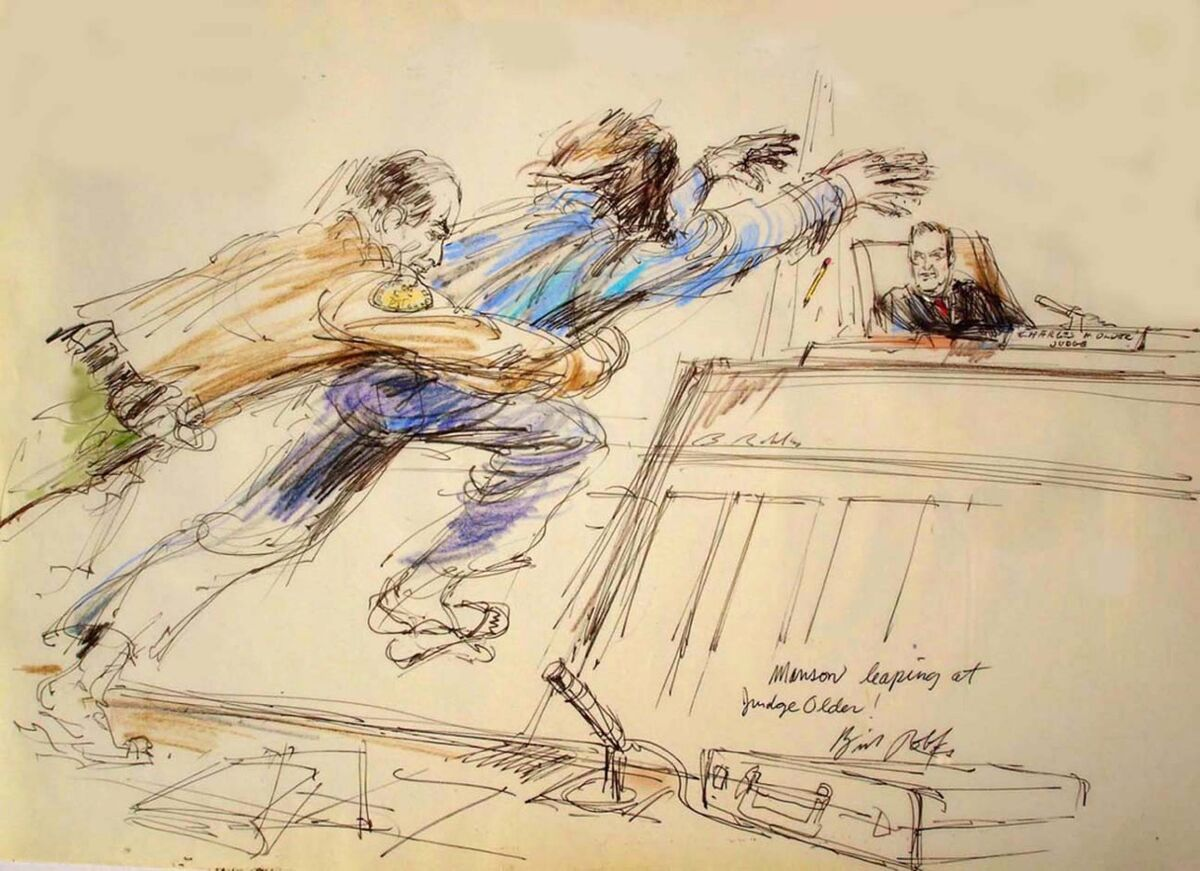 Illustration of Charles Manson leaping at Judge Older by Bill Robles.