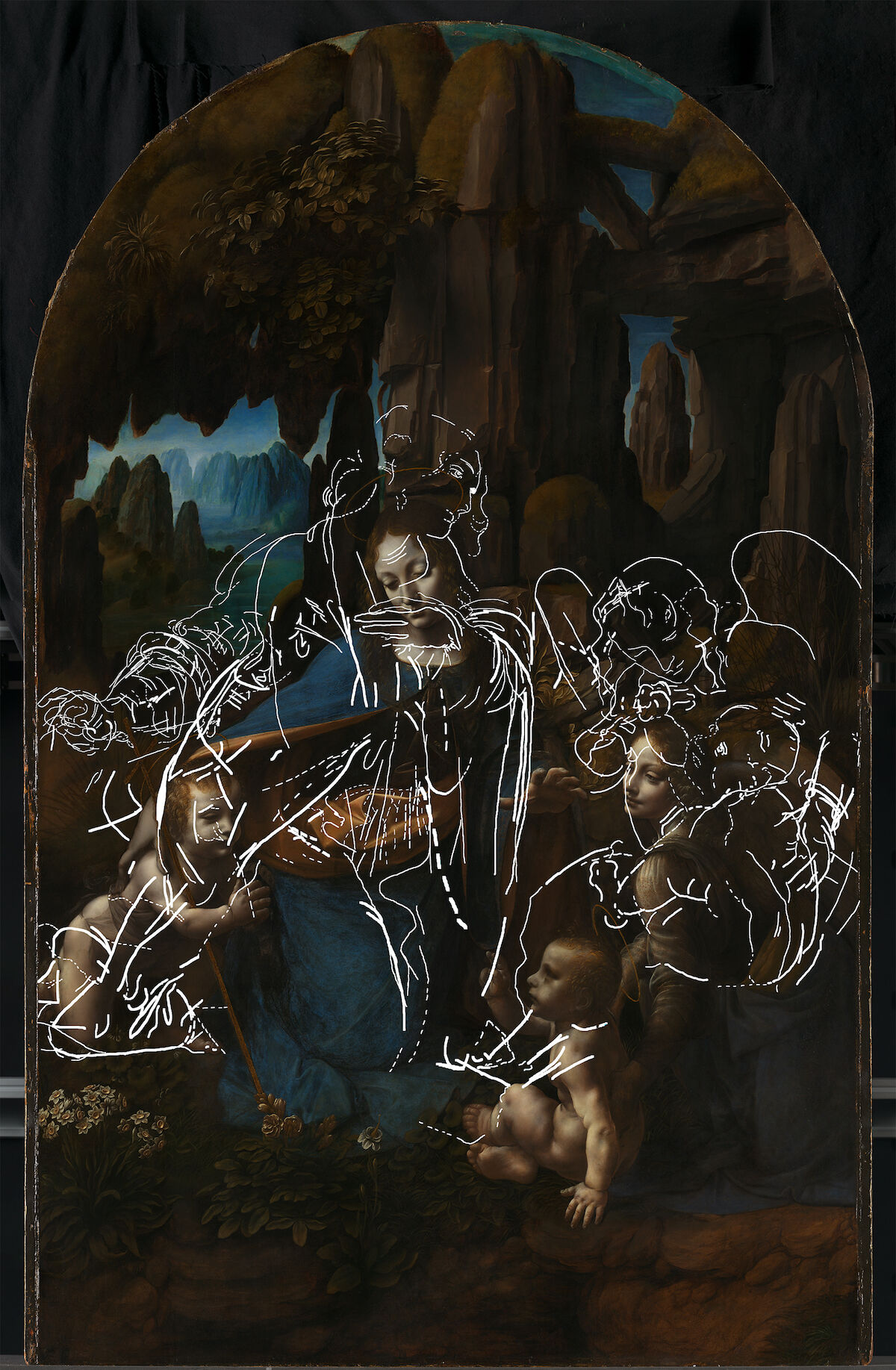 Leonardo da Vinci, The Virgin of the Rocks, with tracing of the lines relating to underdrawing for the first composition, incorporating information from all technical images. © The National Gallery, London.