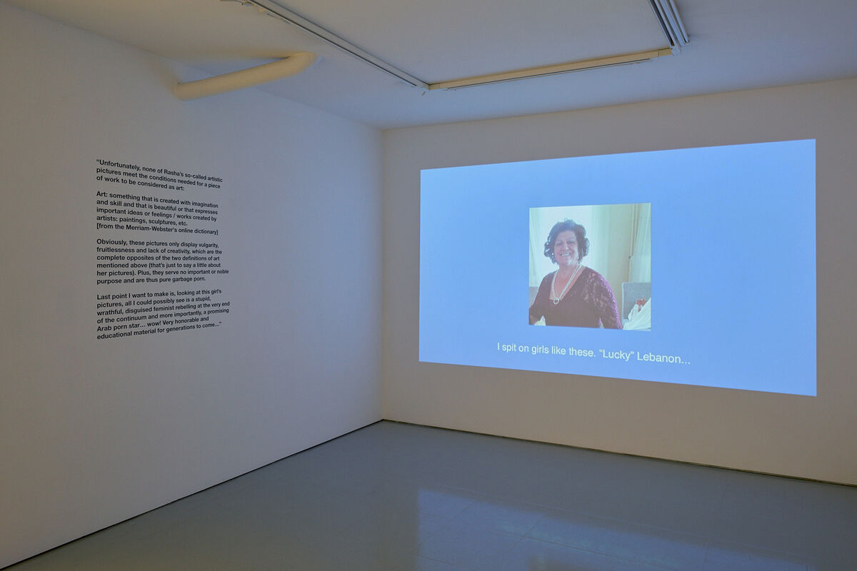 "Installation view of ""Rasha Kahil: Anatomy of a Scandal"" at Art First. Photo courtesy of Art First."