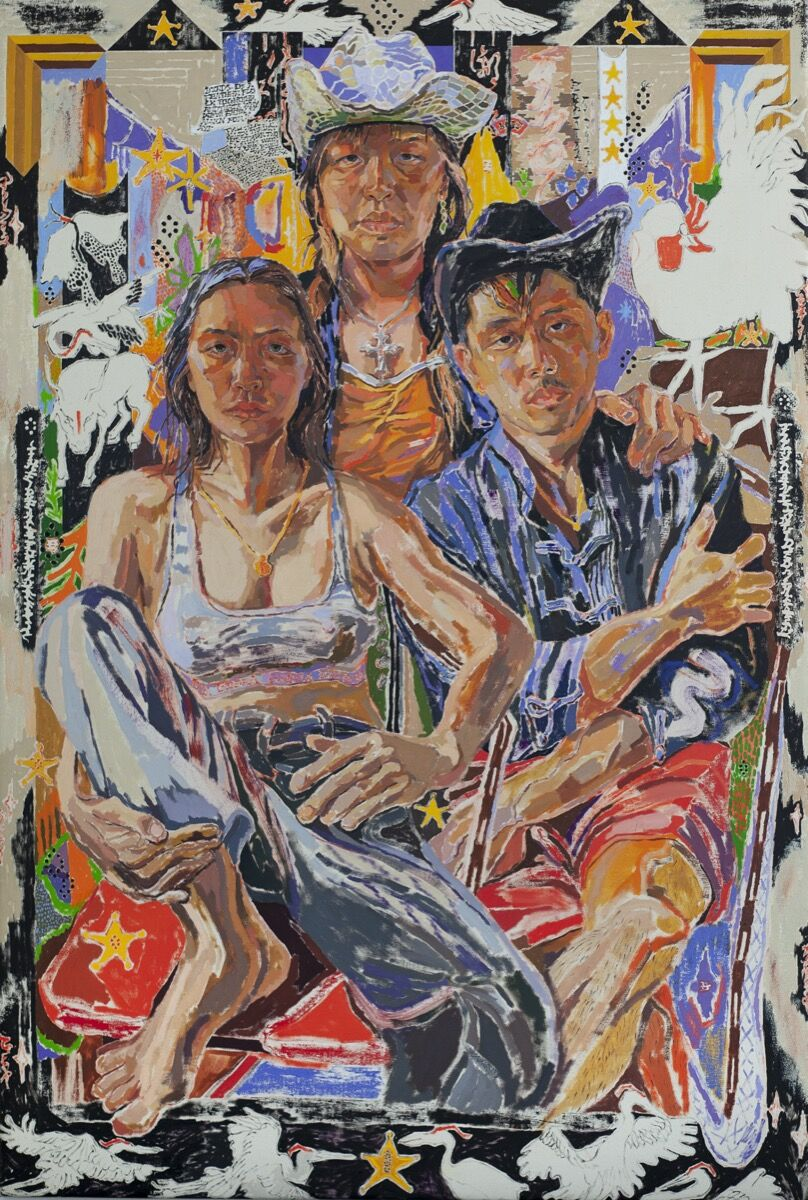 Oscar yi Hou, birds of a feather flock together, aka: A New Family Portrait, 2020. Courtesy of the artist and Carl Freedman Gallery