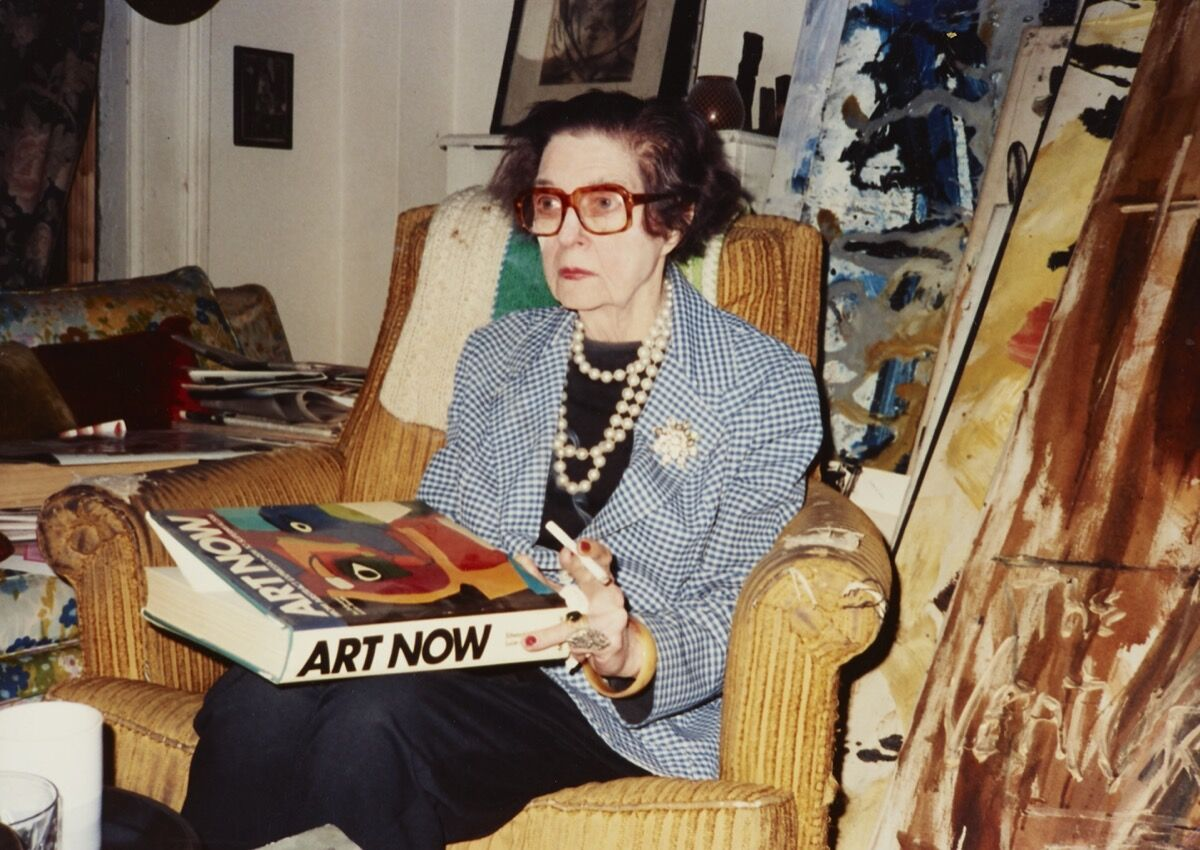 Michael West in her apartment, circa 1977. Courtesy of the Collection of The Michael (Corinne) West Estate Archives.
