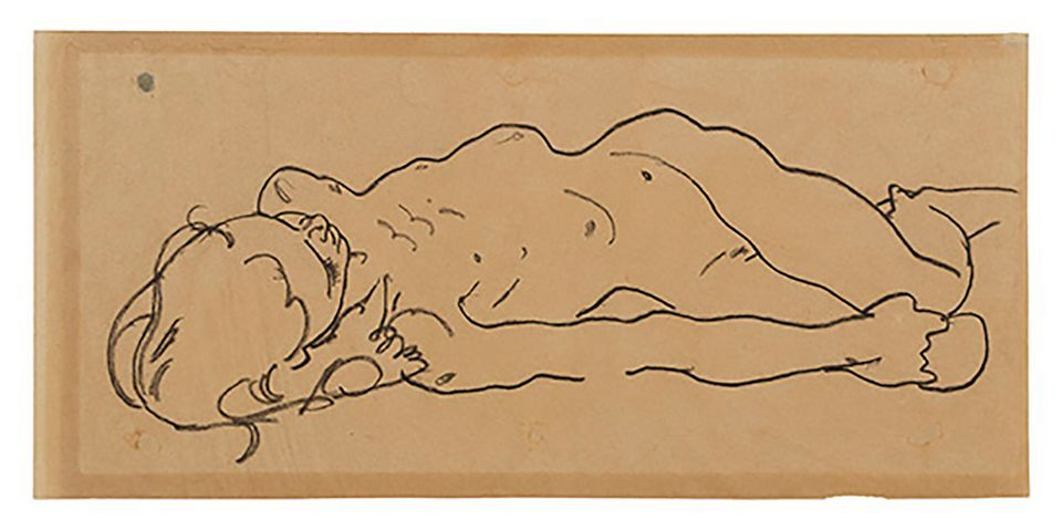 Egon Schiele, Reclining Nude Girl, ca. 1918. Courtesy of Galerie St. Etienne.